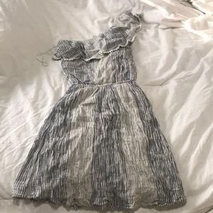 One shoulder linen dress